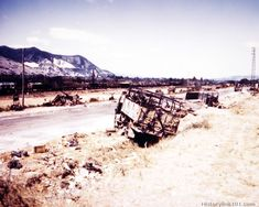 Burned and wrecked German vehicles and equipment lining highway #7 south of Montelimar, southern France. They were knocked out by strafing A...
