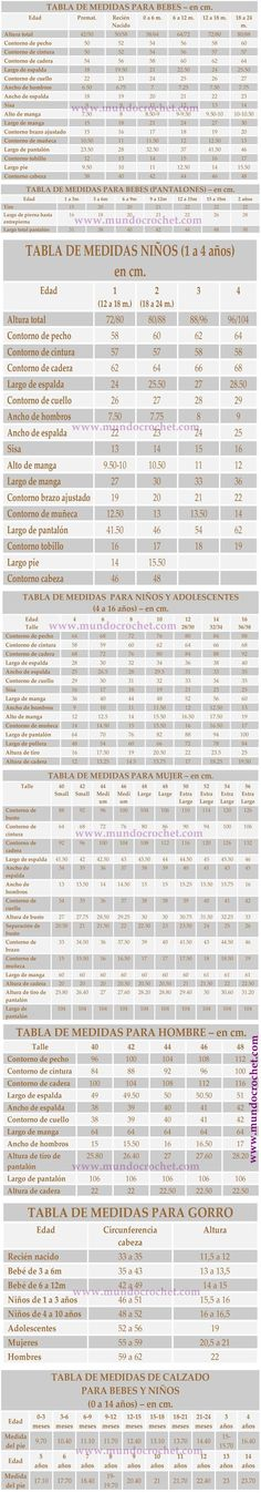 Tabla de medidas para bebes_ninos_gorros_zapatos_mujer_hombre para crochet o ganchillo y tejidos [] #<br/> # #Maria #Luisa,<br/> # #Men #Fashion,<br/> # #Jacket,<br/> # #Size #Chart,<br/> # #Woven #Shoes,<br/> # #Crafts,<br/> # #Women