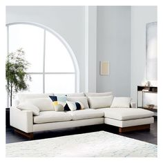 """West Elm Harmony Set 1: Left Arm 82"""" Sofa (2.5 Seater) + Right Arm... ($2,698) ❤ liked on Polyvore featuring home, furniture, sofas, west elm, low sofa, west elm furniture, left arm sofa and greige sofa"""
