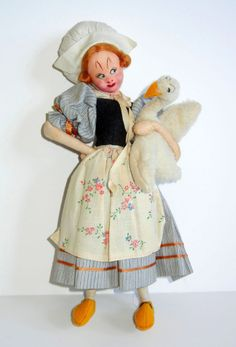 Vintage ROLDAN KLUMPE Cloth Doll Farm Girl Holding Goose Hand Painted Face