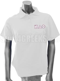 ALPHA KAPPA DELTA PHI POLO WITH GREEK LETTERS, WHITE  Item Id: PRE-POLO-AKDF-BASIC-LTR-WHT    Price: $59.00