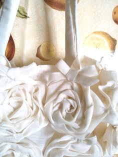 Cream Rose Basket style purse notebook or ipad size by retroeuropa,