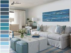 Blue & gray abstract painting, Panoramic prints - Canvas wall art over bed, Decor above couch, Dining room wall decor, Living room pictures Beach Living Room, Coastal Living Rooms, Home Living Room, Living Room Decor, Dining Room, Coastal Bedrooms, Condo Living, Art Over Bed, Living Room Turquoise