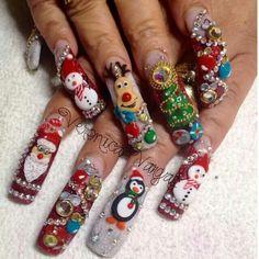 Pinning this just for the creepiness factor - fyi Christmas Nails 2016, Christmas Nail Polish, Xmas Nails, Christmas Nail Art Designs, Bling Nails, 3d Nails, Acrylic Nails, Nail Nail, Christmas Bells