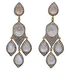 Glamorous Moonstone & Diamond Chandelier Earrings