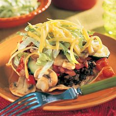 Veggie Tostadas Use this and then layer on extra fiber-rich veggies. The American Diabetes Association recommends subtracting half the number of fiber grams from the total grams of carbohydrates (but only for meals with at least 5 grams of fiber). This gives a better estimate of your food's carb count.