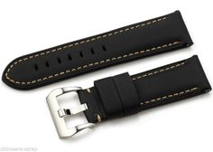 24mm Kevlar Leather Contrast Stitch Mens Watch Strap Band for PAM Mens Watch