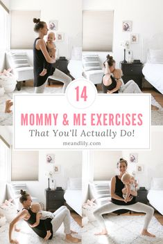 14 Easy Mommy and Me Exercises You'll Actually Do! Try these easy workouts with your baby or toddler if you're a busy mom who needs to fit workouts in with a child running around. #motherhood #exercises #mommyandme #postpartumexercise