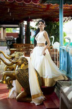 In all kerala glory! Beautiful kerala outfit by pranaah in a beautiful kerala setting!
