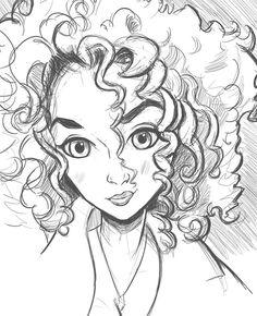 Morning warm-up sketch another pretty girl #caraciture #cutegirls #cute #kawaii #curlyhair #wow #comics #manga #cartoon #anime #drawwithjazza #drawing #sketch