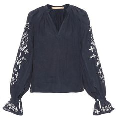 Bliss and Mischief Bandana blouse ($495) ❤ liked on Polyvore featuring tops, blouses, navy, boho peasant tops, navy print blouse, navy blue peasant blouse, linen tops and sleeve blouse