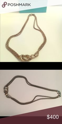"""Tiffany Double Rope Love Knot Necklace 16"""" 16"""" sterling silver Tiffany necklace. Worn only a few times. Will send in a Tiffany box and bag.  Will polish before shipping! Tiffany & Co. Jewelry Necklaces"""