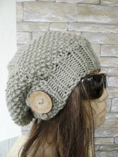 This slouchy beanie with coconut button will make you eye catching, and also to keep you warm!  You can use this Slouch beanie in winter and fall season.