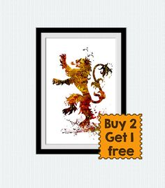 Game of Thrones watercolor poster House Lannister by ColorfulPrint
