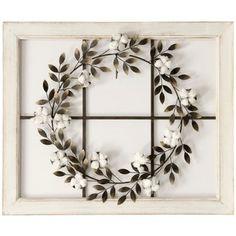StyleCraft Floral Wreath Wood Framed Wall Art - White