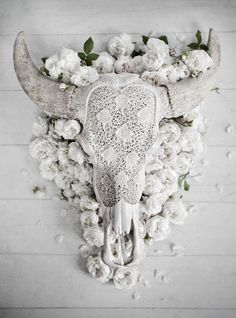 Beautiful white washed carved cow head.