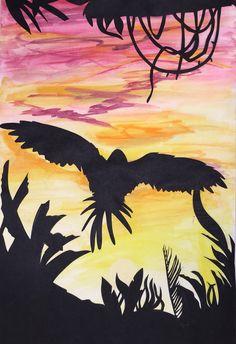 Landscape Positive And Negative, Negative Space, Skyline Silhouette, Moose Art, Landscapes, College, Student, Animals, Image