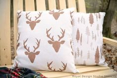 DIY pillow covers made from dropcloths, stenciled with anything you like, then sprayed with a liquid-repelling treatment (if using outdoors). Complete instructions at link.