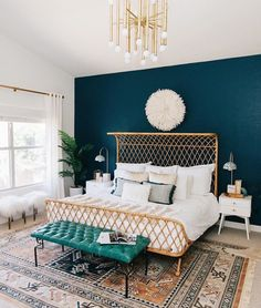 Home Decor Diy Jewel Toned Wall Color Bohemian Bedroom Anthropologie Bed Juju Hat.Home Decor Diy Jewel Toned Wall Color Bohemian Bedroom Anthropologie Bed Juju Hat Dream Bedroom, Home Bedroom, Bedroom Retreat, Master Bedrooms, Aztec Bedroom, Bedroom Carpet, Girls Bedroom, Bedroom Inspo, Bedroom Interiors