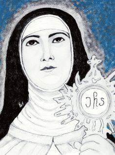 Clare of Assisi holding the monstrance drawn by Kathleen Ellinger, OFS Clare Of Assisi, Religious Images, Eucharist, Santa Clara, Catholic, Mona Lisa, Aurora Sleeping Beauty, Spirituality, Black And White