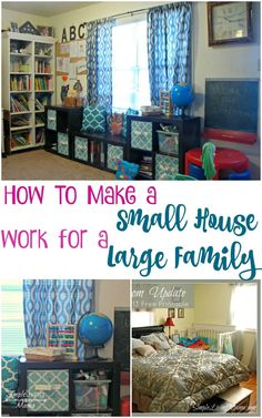 How To Make a Small House Work for a Large Family Think your house is too small for a large family? Think again! Learn how to make a small house work for a large family with these tips. Large Family Organization, Family Organizer, Home Organization, Small Room Design, Family Room Design, Small Apartments, Small Spaces, Boho Apartment, Small House Living