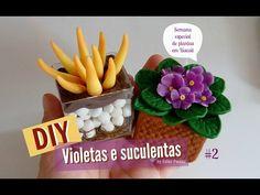 DIY_ VASO DE VIOLETAS EM BISCUIT _ Especial 14 MIL  Inscritos - LU Ensina Passo a Passo - YouTube