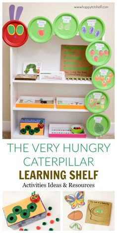 The Very Hungry Caterpillar Theme Learning activities for preschoolers and toddlers. Eric Carle book activities. Montessori shelf. Created by Happy Tot Shelf #happytotshelf #ericcarle #theveryhungrycaterpillar #montessorishelf #handsonlearning #homeschool #toddlers #preschoolers