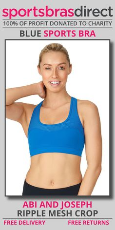 Featuring sporty panels with a feminine sweetheart shaping this medium impact, wirefree sports bra features a racer back, padded and removable cups with a compressive fit. The Ripple Mesh Blue Sports Crop by abi and joseph adds a touch of comfort and style to any workout. Shop Now! #bra #sportsbra #blue #bluebra #bluesportsbra