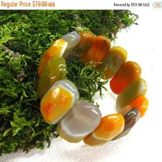 Your BEST GIFT Natural  Agate Bracelet Gemstone wide chunky bangle elastic cuff bracelet orange yellow warm color fashion jewelry bracelets