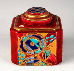 Inkwell , white earthenware decorated with enamels identified, Longwy factory