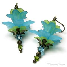 Items similar to Turquoise Lime Green Lily Flower Swarovski Crystal Antique Brass Lever Back Earrings, Exotic Flower Jewelry, Long Aqua Drop Summer Earrings on Etsy Lucite Flower Earrings, Bead Earrings, Flower Jewelry, Wire Jewelry, Jewelry Crafts, Beaded Jewelry, Jewlery, Earrings Handmade, Handmade Jewelry