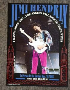 High quality concert poster for Jimi Hendrix at The Boston Garden in 1968. 18 x…