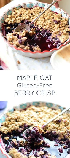 Healthy Maple Oat Mixed Berry Crisp. Naturally gluten-free and dairy-free and so yummy! Use frozen berries and it's perfect of the Thanksgiving table.