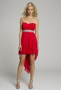 Homecoming and Prom Dresses - Strapless Hanky Hem Short Red Dress with Sequined Trim from Camille La Vie and Group USA