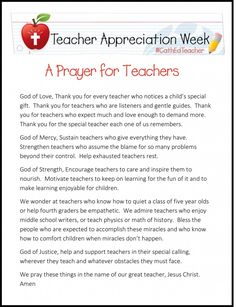 Today is NCEA is pleased to share this prayer for teachers as we continue to celebrate Teacher Appreciation Week! Teachers in Catholic schools model the Gospel in all they do. Teacher Devotions, Teacher Prayer, School Prayer, Teacher Thank You, Your Teacher, Teacher Gifts, Prayer For Teachers, Prayer For Students, Teachers Week