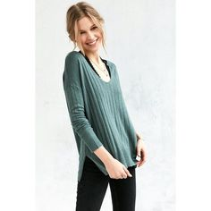 Kimchi Blue Ribbed Knit Deep V Tunic Sweater ($49) ❤ liked on Polyvore featuring tops, sweaters, green, slouchy pullover sweater, long slouchy sweater, ribbed knit sweater, pullover sweater and slouchy tops