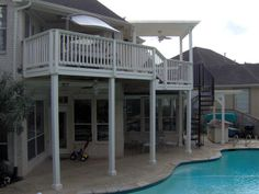 Multilevel deck and spiral stairs in Sugar Land New Territory by TexasCustomPatios, via Flickr