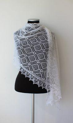 White wedding lace shawl Haapsalu shawl Estonian by LaceForYou Knit Or Crochet, Lace Knitting, Crochet Shawl, Knitting Stitches, Knitting Designs, Knitting Patterns Free, Crochet Patterns, Knitted Shawls, Crochet Scarves