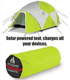 Solar Powered Tent  More Cool Gadgets: http://www.damniwantit.net/category/gadgets-and-gear/ Go Camping, Camping Hacks, Outdoor Camping, Outdoor Gear, Outside Activities, Tent, Cabin Tent, Tents, Camping Tricks