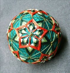 Water lily pattern temari on aqua ground just listed at The Illustrated Egg!