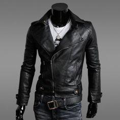 $30.39 Korean Turn-down Collar Side Zipper Embellished Long Sleeves PU Leather Jacket For Men