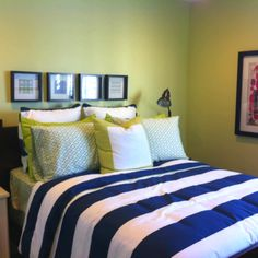 Navy Blue And Lime Green Add Yellow Too Maxwells Room White Comforter