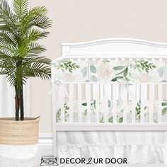 Forever in love with pastels, eucalyptus, and florals. This muted and timeless baby girl bumperless crib bedding is stunning. We adore the pastel color palate mixed with a bit of greenery and rose. Girl Crib Bedding Sets, Custom Baby Bedding, Girl Cribs, Baby Nursery Bedding, Baby Crib, Girl Nursery, Nursery Curtains, Disney Nursery, Coral Nursery Decor