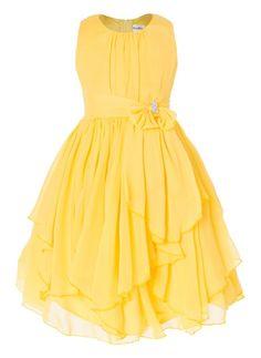 f57c79c1cc Simple yet elegant looking Yoru Chiffon dress with Asymmetric Ruffled Skirt  and Jeweled bow waistline accent