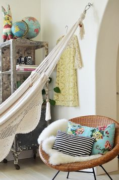Indoor hammock, beautiful mess, humble abode, apartment living, apartment t Interior Inspiration, Room Inspiration, Apartment Living, Living Room, Apartment Therapy, Indoor Hammock, Hammock Chair, Chair Cushions, Sweet Home
