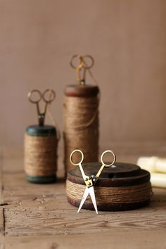 Set of three recycled wooden spools - for the craft room! $49.00