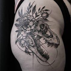 T rex skull tattoo by @chronicinkblackwork