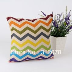 Home Decorate Designer Rainbow Chevron Linen Throw Cushion Cover for Couch Bedding, 45 *45 CM