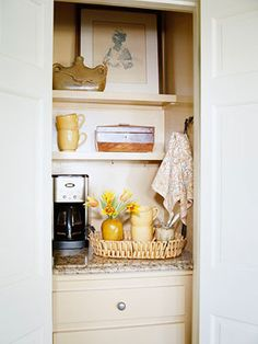 Turn small closet in family room into a bar