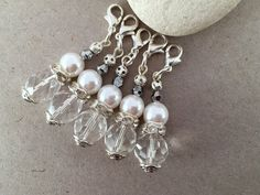 Crystal and Pearl charmSilver and White charmsUnique by LucKeyMe